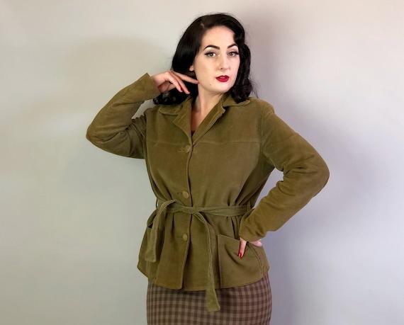 "1940s Cotton Velveteen Jacket   Vintage 40s Olive Green ""Heeksuede"" Short Coat with Self Buttons Patch Pockets and Sash Belt   Medium-ish"