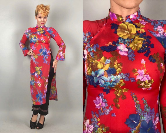 Vintage 1960s Coat Dress | 60s Scarlet Red Cheongsam QiPoa OverDress Lounge Coat w/ Blue & Purple Flowers and Bell Sleeves | Extra Small XS