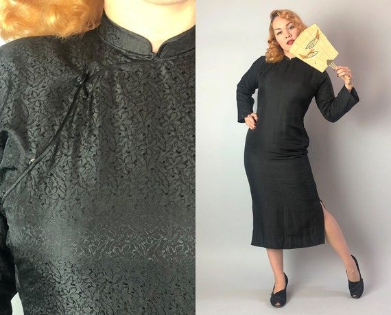 Vintage 1930s Dress | 30s Black Silk Satin Brocade Long Sleeve Ankle Length Winter Weather Padded Chinese Cheongsam Qipao | Small Medium