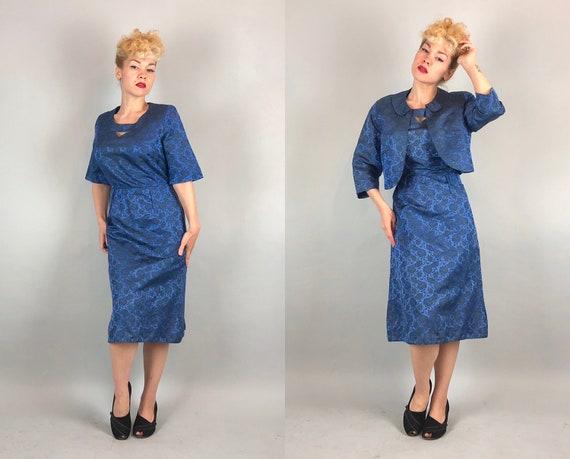 1950s Silk Brocade Dress Set | Vintage 50s Sapphire Blue and Jet Black Floral Midi-Length Cocktail Dress with Matching Bolero Jacket | Large