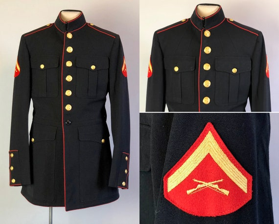 1950s Men's U.S. Marine Corps Jacket | Vintage 50s Black Wool Gabardine Dress Coat Blazer with Red Piping and Brass Buttons | Small/Medium