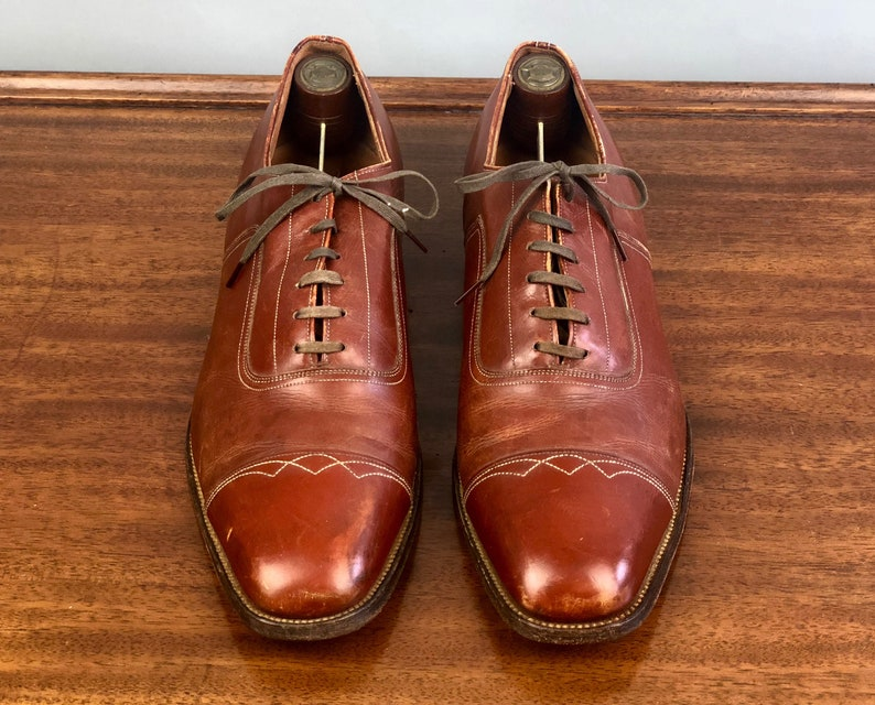 f2ce95fa228b9 1940s Burnt Caramel Mens Shoes | Vintage 40s 'Hanover' Brown Leather French  Top Stitched Cap Toe Oxfords w/ Calfskin Soles | Size 10-10.5
