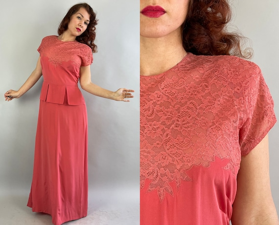1940s Gala Goddess Gown | Vintage 40s Salmon Pink Lace and Rayon Formal Dress with Peplum Keyhole and Box Pleat Bustle Back | Medium