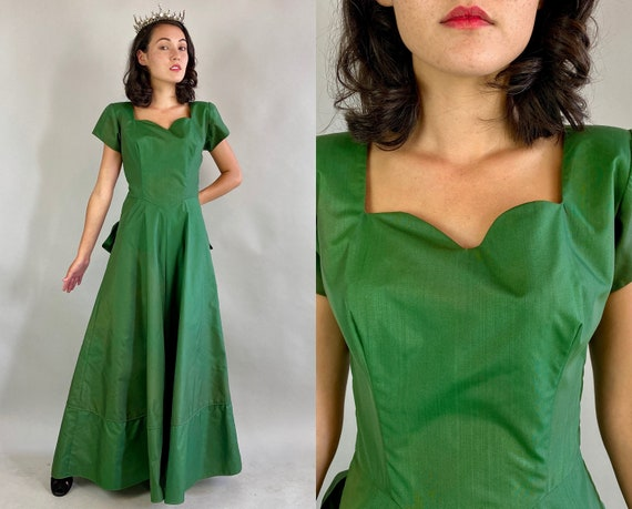 1940s Emerald Evening Gown | Vintage 40s Rayon Moire Taffeta Floor Length Dress with Sweetheart Neckline and Bustle | Small XS Extra Small