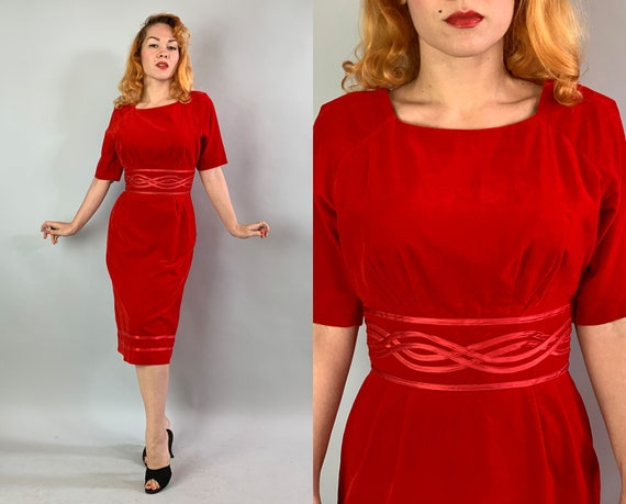 1950s Red Hot Cocktail Dress | Vintage 50s Velvet Evening Party Bombshell Frock w/Squared Neckline & Satin Ribbon at Waist and Hem | Medium