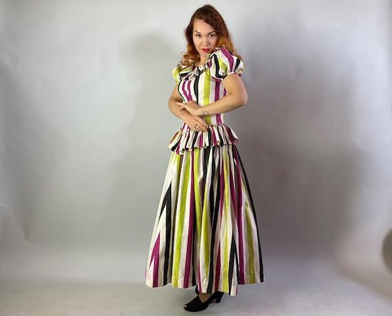 1940s Big Top Ball Gown   Vintage 40s Cotton Dres… - image 2
