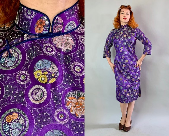 1950s Vibrant Violet Cheongsam | Vintage 50s Long Sleeved Purple Silk Brocade Qi Pao Traditional Chinese Dress with Mandarin Collar | Small
