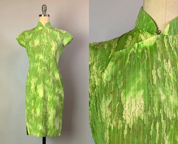 Vintage 1950s Dress | 50s Tiki Lime Green Semi Sheer Cotton with Abstract Line Drawings Cheongsam Traditional Chinese Qipao | Extra Small XS
