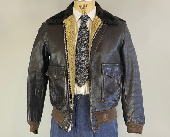 1950s G-1 Leather Jacket | Vintage 50s Black Coffee Brown Leather Bomber Jacket w/Double Side Pockets and Sheep Collar and Lining | Small
