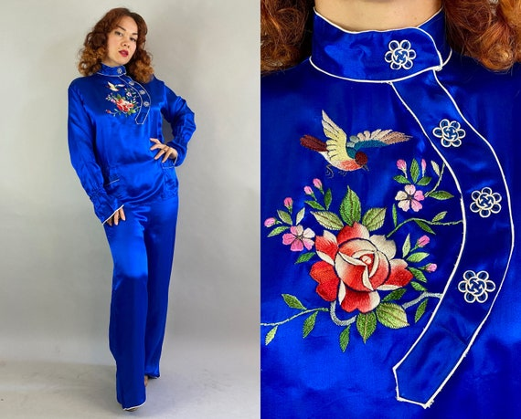 1940s Sweetheart Souvenir Set | Vintage 40s Sapphire Blue Silk with White Trim and Colorful Embroidery Pajamas Top and Pants | Medium Large