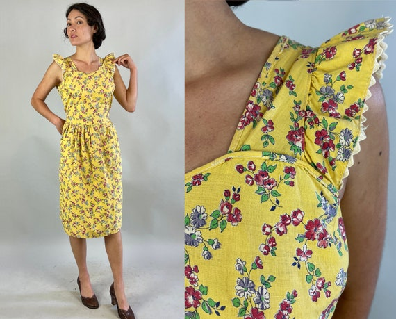 1930s Pretty Penny's Pinafore | Vintage 30s Yellow Pink Purple Floral Cotton Button Back Dress w/Ric Rac Ruffle Trim & Pockets | Small/XS