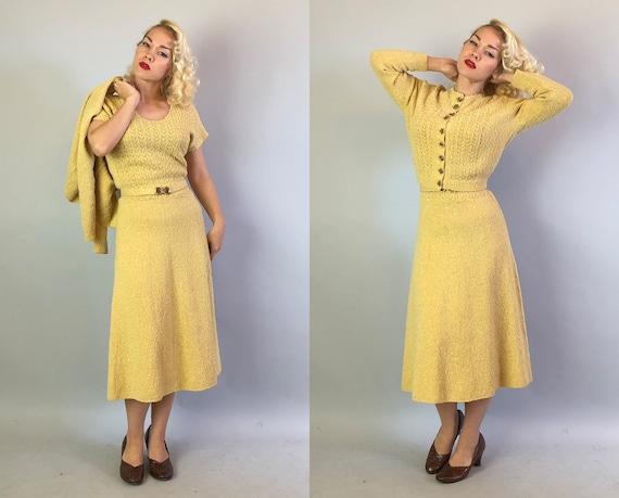 Vintage 1940s Dress Set   40s Butter Yellow and Gold Lurex Slubby Scallop Knit Dress Sweater Belt w/3D Flower & Leaf Closures   Medium/Large