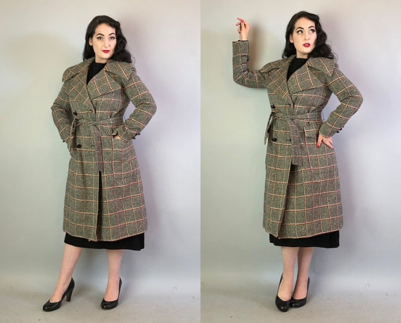 1950s Dramatic Collar Trench Coat | Vintage 50s Black White and Red Windowpane Wool Overcoat with Leather Knot Buttons & Pockets! | Medium