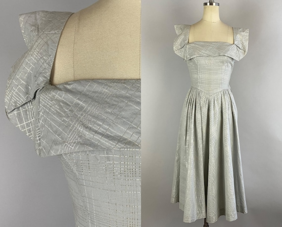 1950s Sweetheart Sally Party Dress | Vintage 50s Square Neck Cotton Lurex Plaid Grey Silver Cocktail Frock w/Attached Cape | XS Extra Small