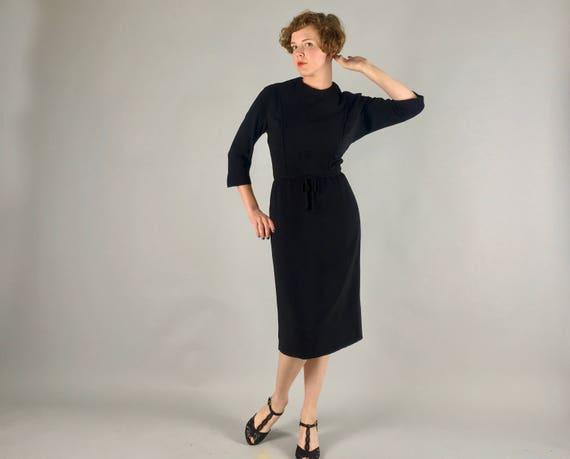 Vintage 1950s Dress | 50s Classic Wool Crepe Little Black Dress LBD Cocktail Evening | Large