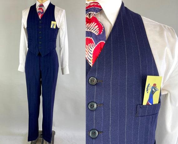 1930s Lindy Hopper's Delight Vest & Trousers Set | Vintage 30s Blue w/White + Purple Pinstripe Wool Suit Waistcoat Pants | Size 38/40 Medium