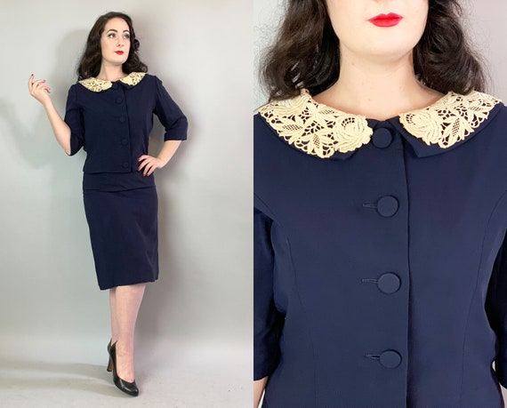 1950s Sophisticated Dress Set | Vintage 50s Navy Blue Rayon Crepe Slip Dress & Matching Jacket w/White Lace Collar and Self Buttons | Medium