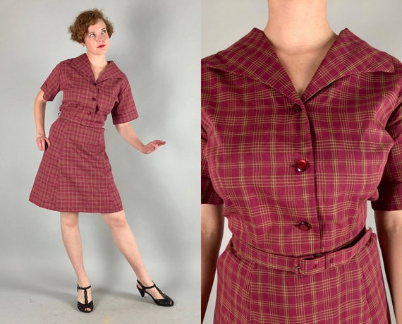 1940s 1950s Cotton Day Dress | Vintage 40s 50s Maroon Red and Green Plaid Tartan Dress with Self Belt & Pockets Volup | Large XL Extra Large