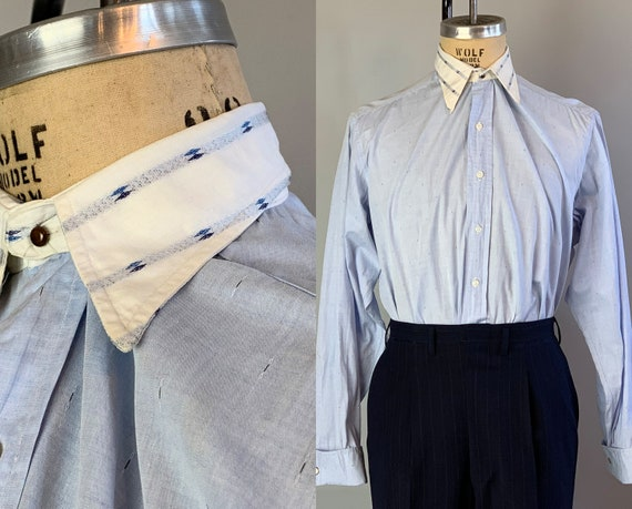 1930s Dandy Dave Shirt | Vintage 30s Blue + White Button Up Contrasting Detachable Spearpoint False Collar Oxford w/ French Cuffs | Large