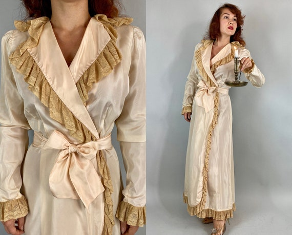 1930s Luxurious Lady Dressing Gown | Vintage 30s Palest Pink Rayon Taffeta Wrap Robe with Ecru Lace Trim & Attached Sash Belt Ties | Medium