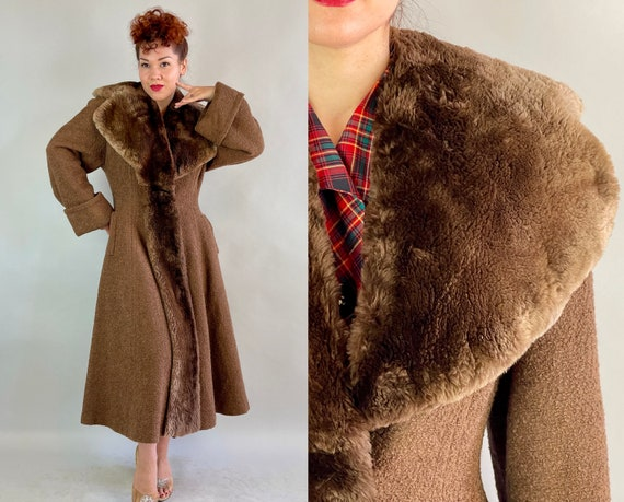 1940s Prized Princess Coat | Vintage 40s Chestnut Brown Boucle Wool Full Skirt Hourglass Overcoat with Dramatic Mouton Collar | Small Medium