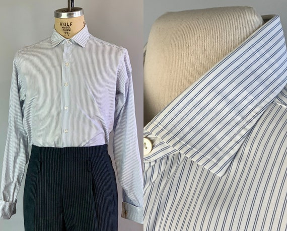 1950s Classic & Cool Shirt | Vintage 50s Cream White and Ocean Blue Pinstripe Cotton Button Up Dress Oxford Top with French Cuffs | Large