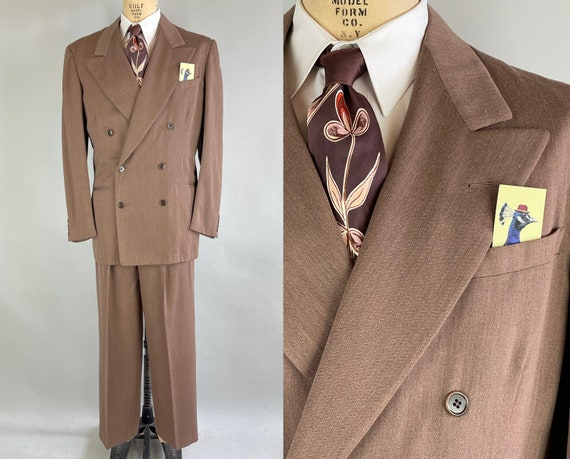 1950s Harold's Mauve Suit | Vintage 50s Heathered Mauve Wool Bold Look Peak Lapel Jacket and Trousers | Size 40-42 Medium/Large