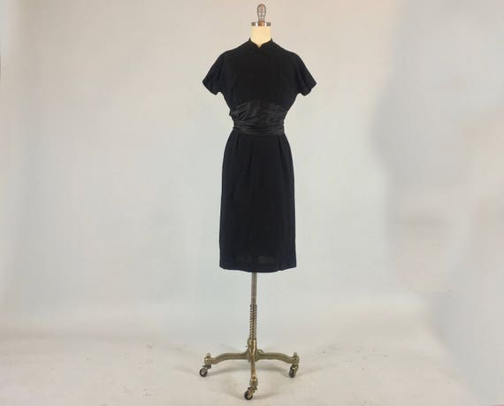Vintage 1950s Dress | 50s Black Wool Wiggle Pencil Cocktail Dress with Satin Waist Sash LBD | Small