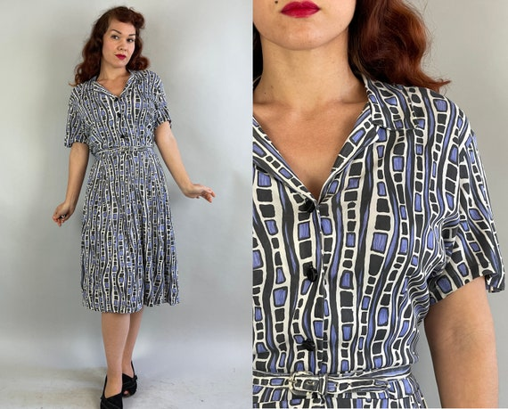 1940s Modern Art Millie Dress | Vintage 40s Black White and Blue Painterly Block Striped Rayon Jersey Shirtwaist Frock | Extra Large XL
