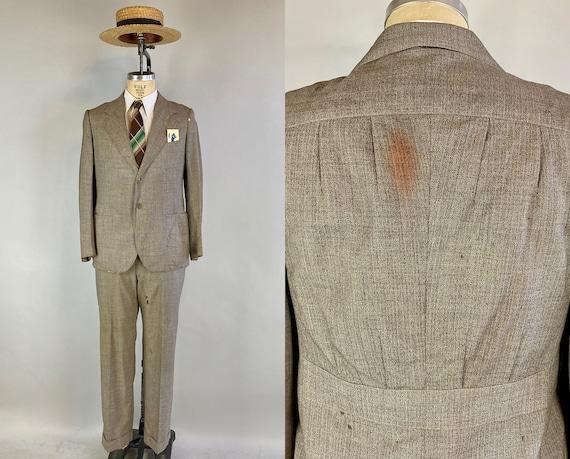 1930s Dust Bowl Desperado Suit | Vintage 30s Taupe Granite Cloth w/Orange + White Stripe Wool Belted Back Jacket & Trousers |Size 40 Medium