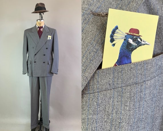 1940s Leading Man Suit | Vintage 40s Slate Grey with Electric Blue Pinstripes Wool Peak Lapel Two Piece Jacket and Trousers | Size 40 Medium