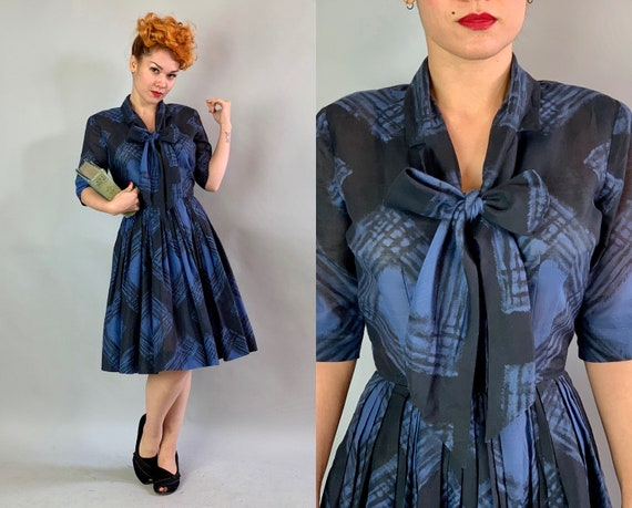 1950s Pussybow Day Dress | Vintage 50s Blue & Black Plaid Semi-Sheer Linen Fit and Flare Style with Pleated Skirt by 'Mr.Eddie' | Small