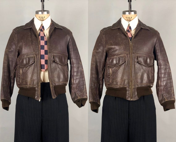 1930s 1940s Mens A-2 Jacket | Vintage 30s 40s 'Jim Clinton' Chocolate Brown Leather A2 Bomber Jacket with Double Side Pockets | Small Medium