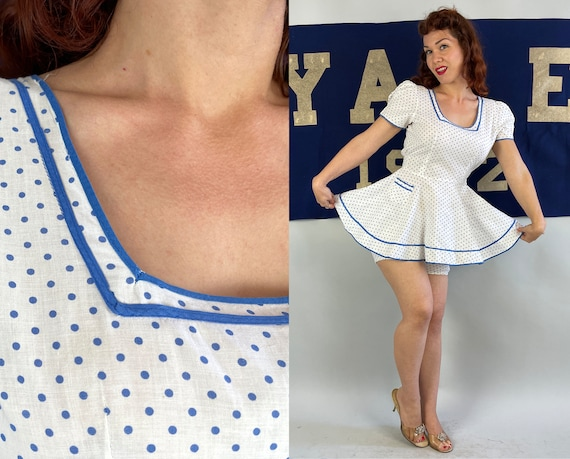 1940s Darling Dotty's Dotted Play Set   Vintage 40s White and Blue Polka Dot Cotton Puff Sleeve Peplum Top & Bloomer Shorts Play Set   Small