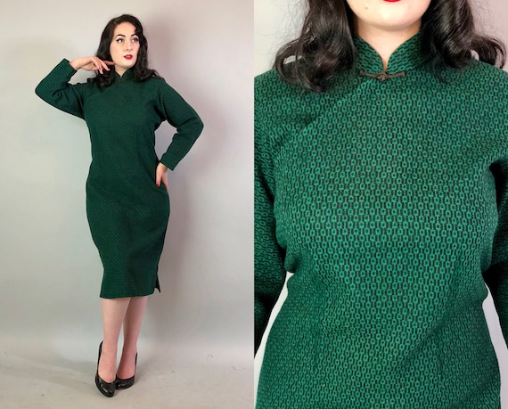 1960s Geometric Cheongsam | Vintage Early 60s Mid Century VOLUP Emerald Green & Black Wool Knit Chinese QiPao Dress | XL Extra Large