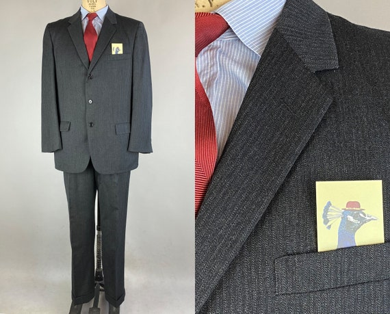 1950s Handsome Hep Suit   Vintage 50s Charcoal Grey Black and White Pinstripe Wool Two Piece Jacket and Trousers   Size 42 Large
