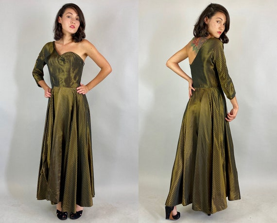 1940s Bombshell Beauty Dress | Vintage 40s Gold and Black Stripe One Shoulder Boned Cocktail Frock with Full Circle Skirt | Extra Small XS