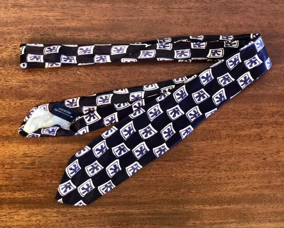 "1950s Mens Tiki Design Squares Necktie | Vintage 50s Navy Blue Silk with Purple and White Tie by ""Arrow"""
