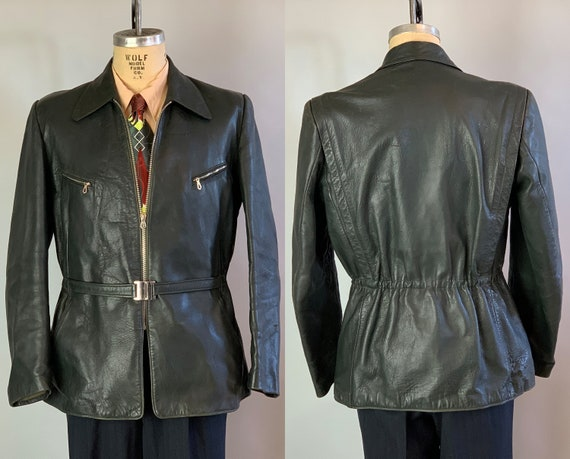 "1930s Dandy Delinquint Leather Jacket | Vintage 30s Black Motorcycle Jacket w/ Belted Back Flannel Lining & Art Deco ""Reis"" Hardware 