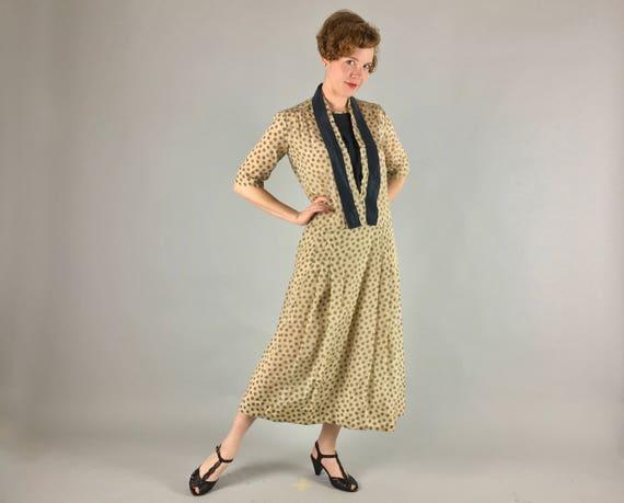 Vintage 1920s Dress | 20s Beige Champagne and Moss Green Polkadot Silk Flapper Day-To-Evening Dress | Medium