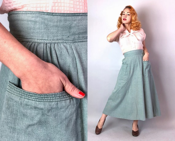 1950s Seafoam Dream Skirt | Vintage 50s Sea Green Cotton Chambray Gathered Maxi Skirt with 2 Large Square Front Pockets | Medium