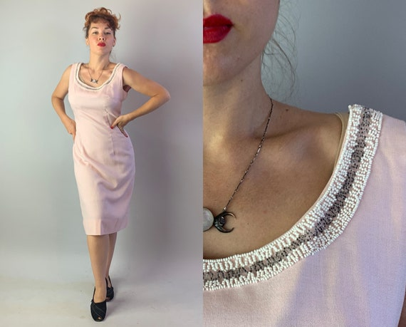 1950s Wilma's Wonderful Wiggle Dress | Vintage 50s Blush Pink Linen Hourglass Shift Frock with White and Silver Beaded Neckline | Large