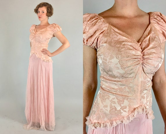 1930s Blush Evening Gown | Vintage 30s Amazing Pale Pink Floor Length Formal Dress With Puff Sleeves, Floral Brocade, & Netting | Small