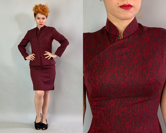 1950s East Meets West Cheongsam Set | Vintage 50s Maroon Red Wool with Black Marbeling Qipao Chinese Dress and Matching Jacket | Small
