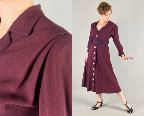 1940s Wine Red Rayon Jersey Dress | Vintage Volup 40s Burgundy Button-Front Swing Dress by 'Carolyn Kelsey' | Large Extra Large XL