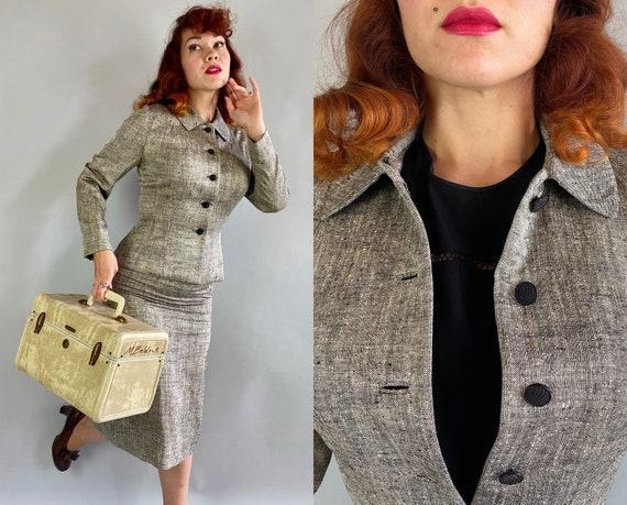 "1940s Sally's Sashay Suit | Vintage 40s ""Lilli Ann"" Static Grey Black and White Slubby Silk Blazer Jacket & Pencil Skirt | Extra Small XS"