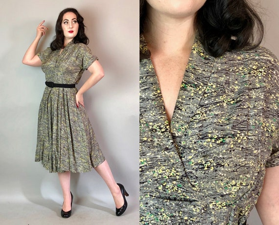 1940s Pollock Frock | Vintage 40s Grey Rayon Day Dress w/Yellow, Green, & Black Floral Paint Splatter Novelty Print w/ Skirt Overlay | Large