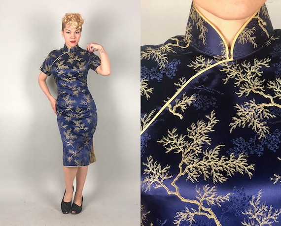 1950s Deep Sea Blue Cheongsam | Vintage 50s Satin Brocade Quipao Dress W/ Pattern of Gold & Royal Blue Coral Branches and Seaweed | Large