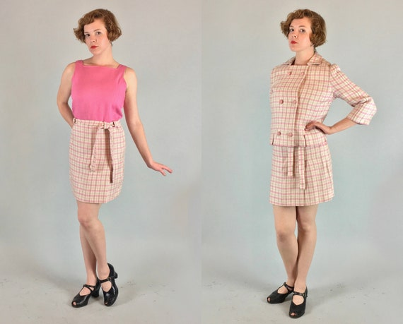 1960s Pink and Cream Dress Set   Vintage 60s Linen and Wool White Plaid Tartan Midi Day Dress with Suit Jacket   Extra Small / Small XS