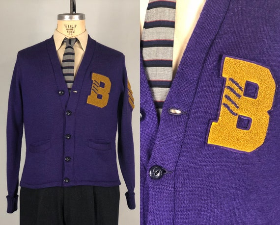 "1940s Mens Varsity Cardigan | Vintage 40s Eggplant Purple & Gold Wool Knit Collegiate ""B"" Letterman Sweater Jumper Sports | Large"